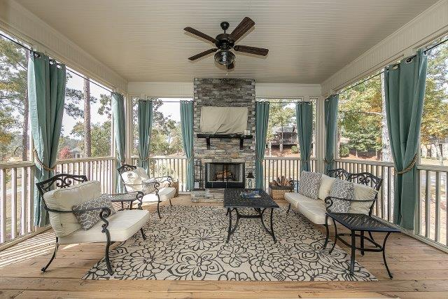 Incredible outdoor porch with fireplace